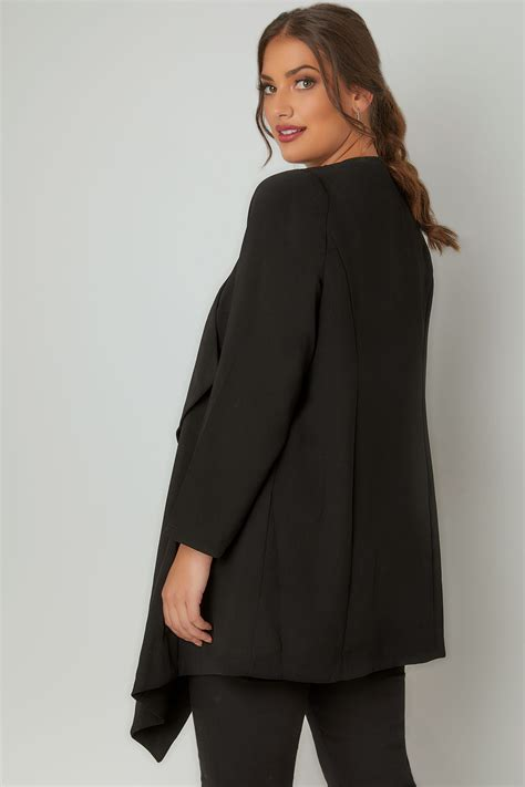 Buy Asda Gift Card - black crepe longline waterfall jacket plus size 16 to 32