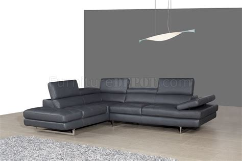 a761 slate grey leather sectional sofa by j m