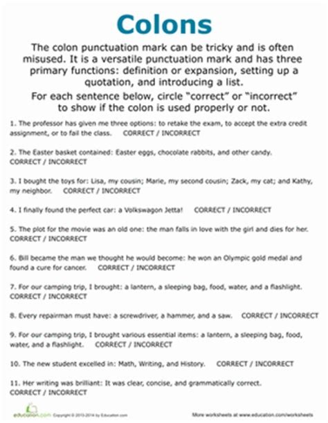 Semicolon And Colon Practice Worksheet by Colon Usage Worksheet Education