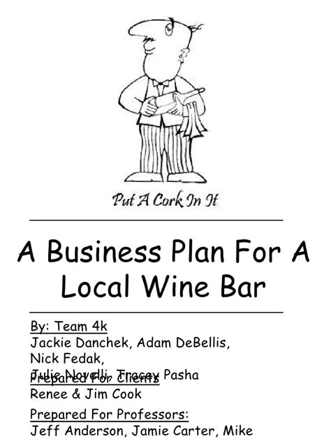 bar and grill business plan template local wine bar business plan