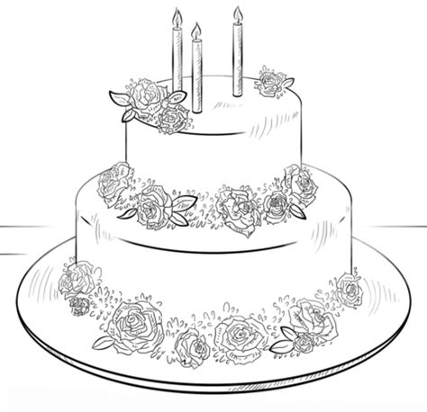 coloring page birthday cake birthday cake with roses coloring page free printable