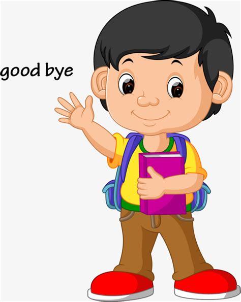 imagenes en ingles de good bye vector kids wave goodbye cartoon vector illustration el