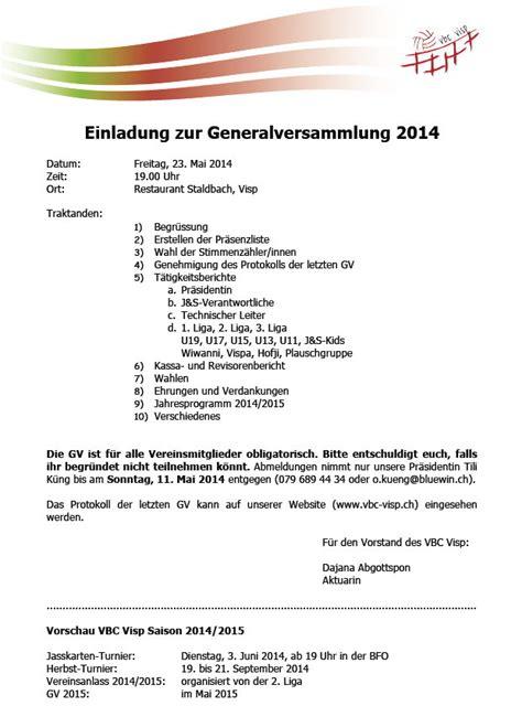 Muster Einladung Generalversammlung Generalversammlung 2014 Einladung Mit Traktanden Und Protokoll Der Gv 2013 Vbc Visp