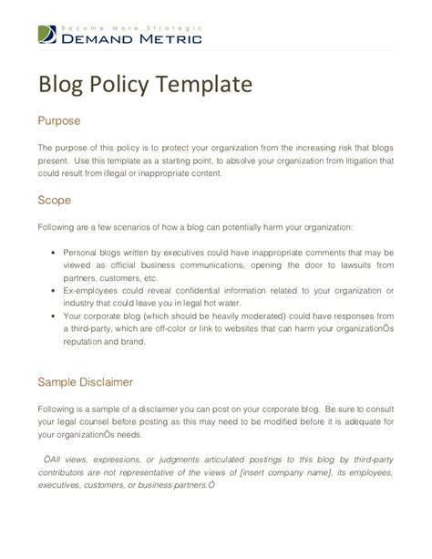 blog policy template