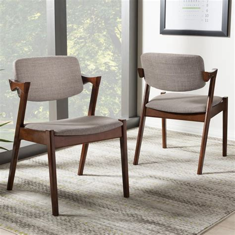 Fabric Upholstered Dining Chairs Baxton Studio Gray Fabric Upholstered Dining Chairs Set Of 2 2pc 7186 Hd The Home Depot