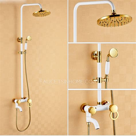 Shower Faucet System by Chic White Painting Brass Shower Faucets System