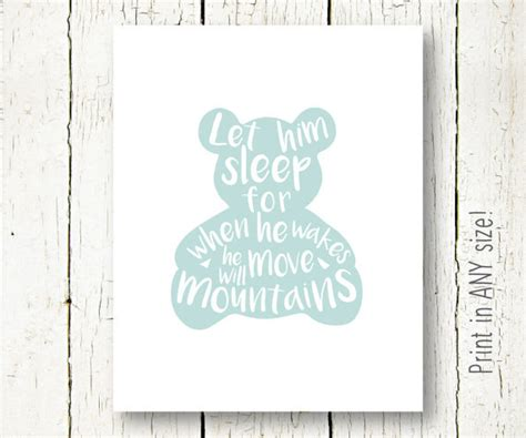 printable nursery quotes let him sleep printable baby boy nursery quote blue teddy bear