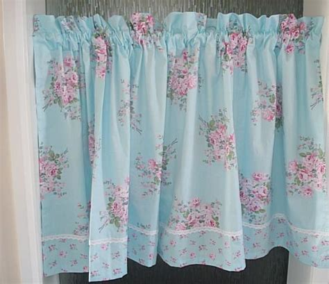 shabby french country rose floral blue chic cafe kitchen curtain tier q style ebay