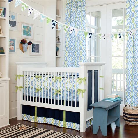 Boy Baby Crib Bedding with Navy Waves Crib Bedding Baby Bedding For Boys Carousel Designs