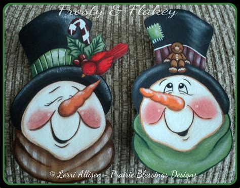 tole painting christmas ornament patterns snowmen frosty and flakey snowman ornaments