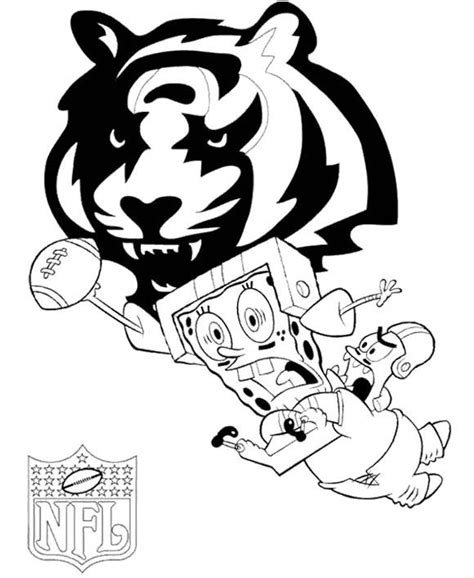 spongebob nfl coloring pages spongebob nfl football coloring page cincinnati bengals