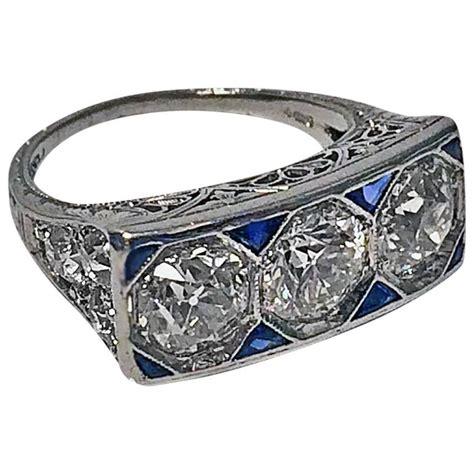 deco platinum ring 1920s deco sapphire platinum ring at 1stdibs