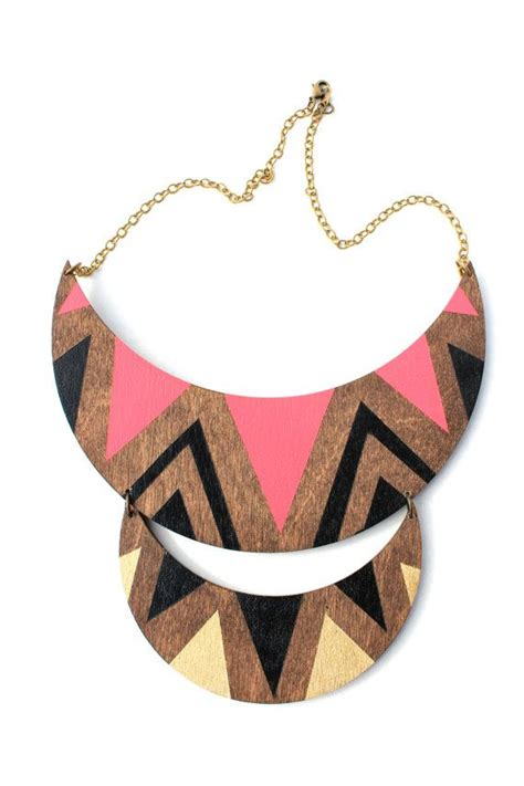 double crescent wood necklace  vozcollective  etsy
