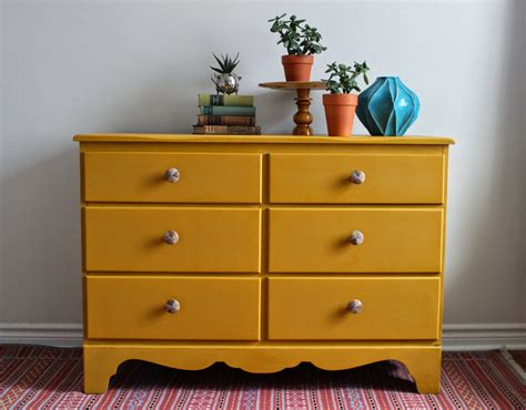 Painted Yellow Dresser by Poppyseed Creative Living Mustard Yellow Dresser With Painted Knobs