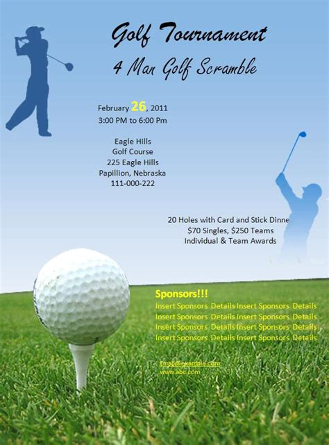 golf tournament flyer template 7 best images of free printable menu templates for golf
