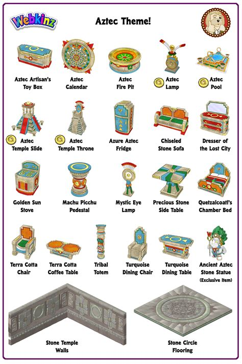 theme item list rare theme showcase aztec theme wkn webkinz newz
