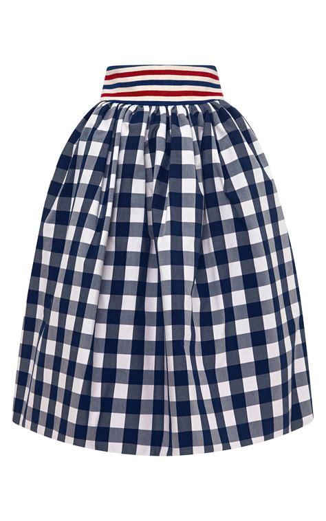 stella jean primula gingham skirt in blue navy white