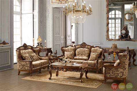 Lilly traditional dark wood formal living room sets with carved formal