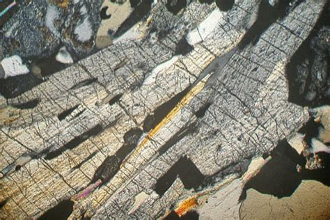 cordierite thin section anthophyllite cordierite schist norway thin section