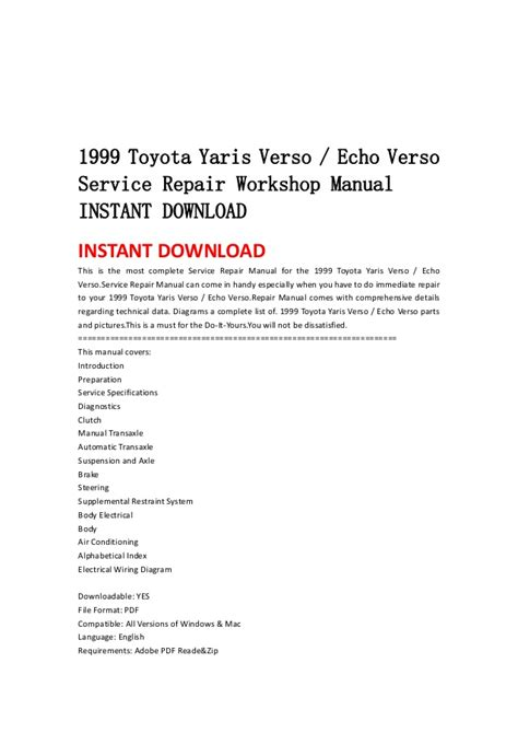 service and repair manuals 2005 toyota echo navigation system 1999 2005 toyota yaris verso echo verso service repair manual downlo