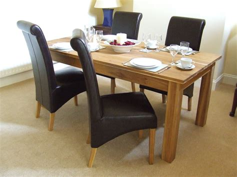 dining table set oak solid oak dining table set 160cm leather dining