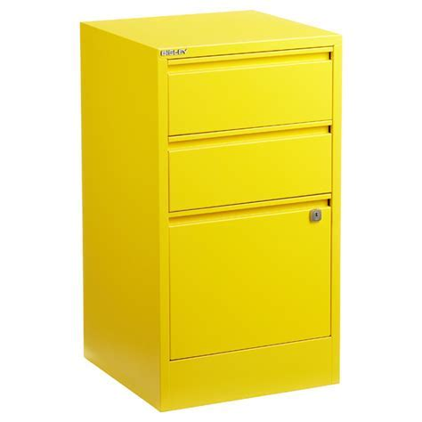 Bisley Yellow 2  & 3 Drawer Locking Filing Cabinets   The