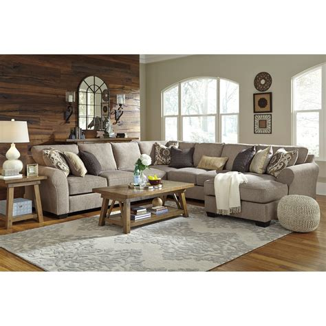 pantomime right chaise sectional benchcraft by pantomine 5 sectional with