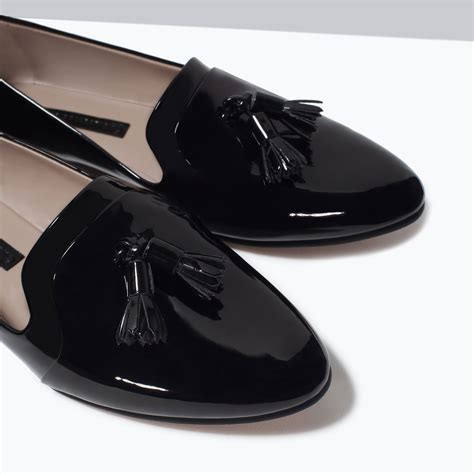 Flat Shoes Nf01 Sintetis Glossy zara glossy flat shoes in black lyst