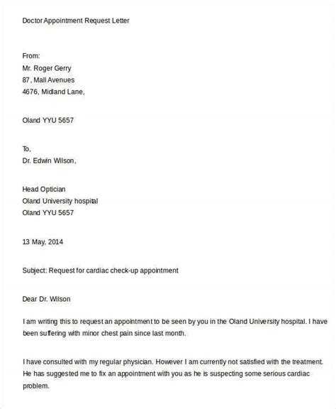 sample appointment request letters