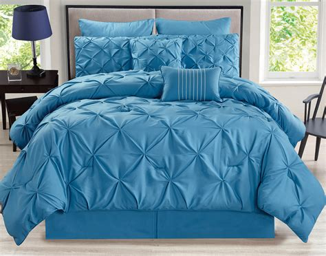 blue queen comforter sets 8 piece rochelle pinched pleat blue comforter set