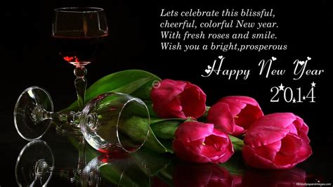 new year wishes with rose flowers quotes happy new year 2014 pink roses and glass wallpaper hd widescreen
