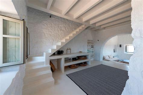 restored  century stone house  greece  modern