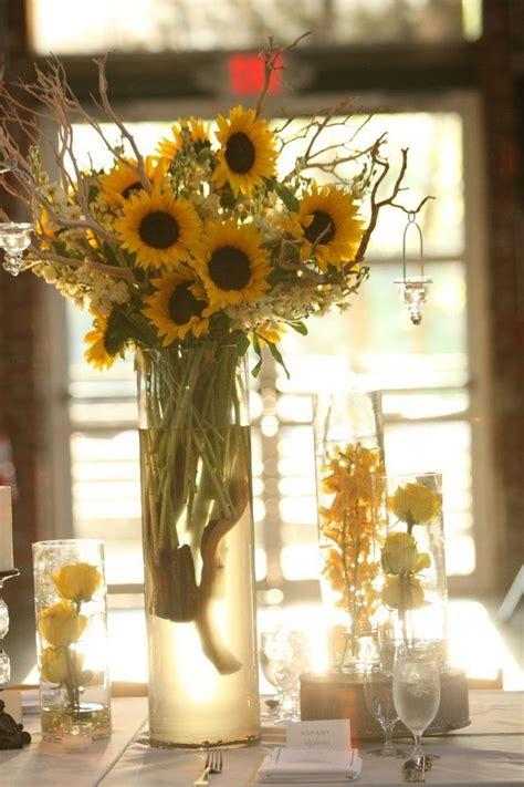 Sunflower Centerpieces For Weddings Sunflower Centerpiece Wedding Yellow Wedding Style