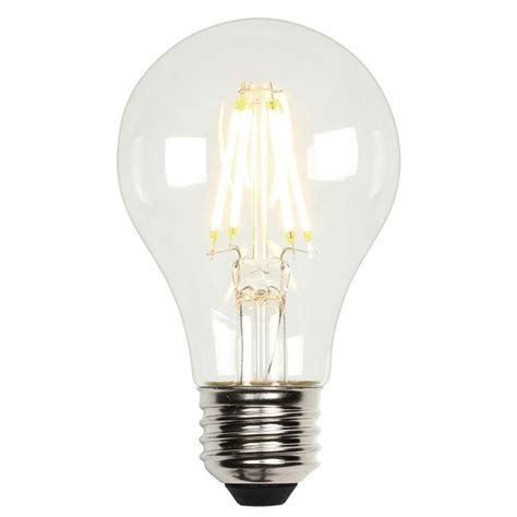 Led Light Bulbs 60w Equivalent Westinghouse 60w Equivalent Soft White A19 Dimmable Filament Led Light Bulb 3316500 The Home Depot