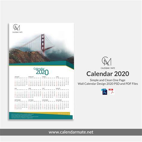 damas simple  clean  page  wall calendar design template