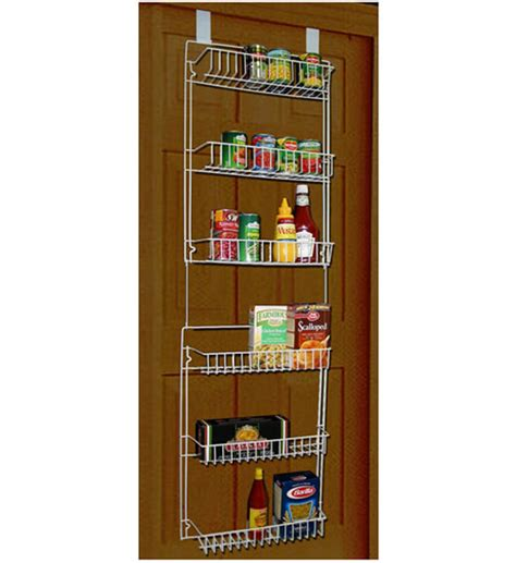 Wire Shelving For Pantry Door by The Door White Wire Storage Baskets In Wall And Door Storage Racks
