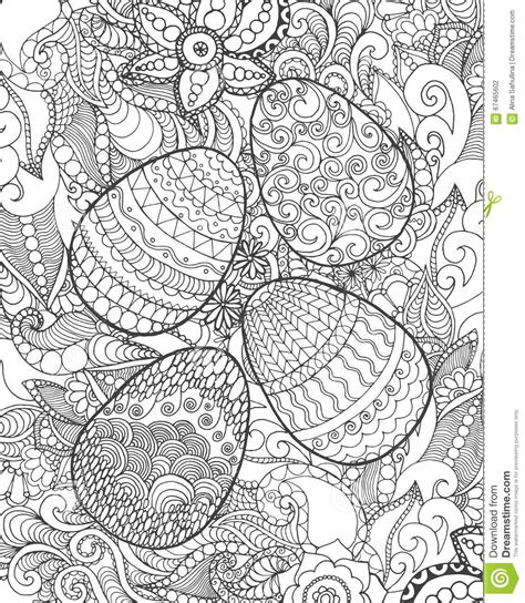 Easter Eggs And Flowers Coloring Page Stock Vector   Image