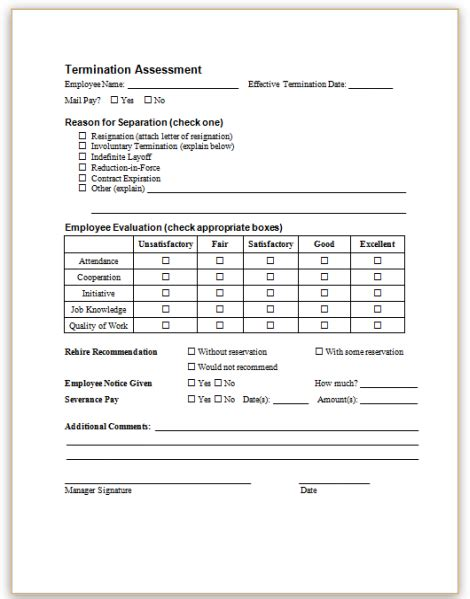 employee termination form template employment termination form template