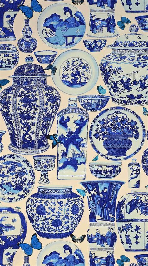 blue and white china l jardin bleu fabric in indigo from manual canovas quot design
