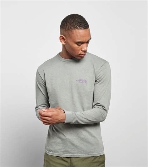lyst stussy sleeved designs t shirt in gray for