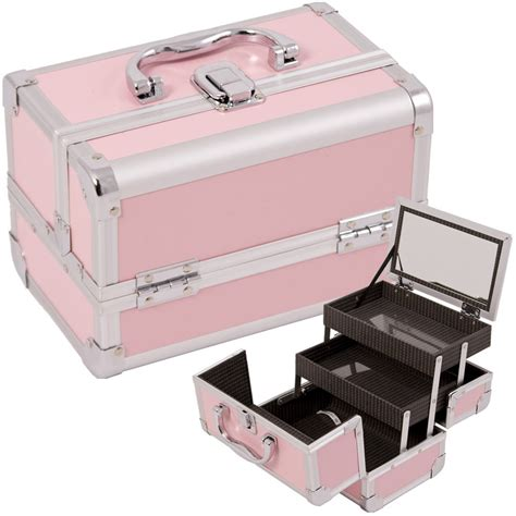 Makeup Box makeup cosmetic organizer w mirror 3 trays