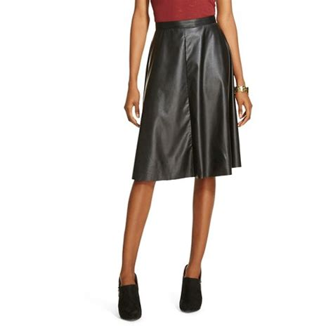 s vegan faux leather midlength skirt black target