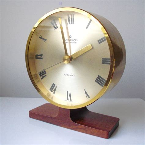 Clock Mat by Junghans Ato Mat Desk Clock Brass And Teak Foot Catawiki