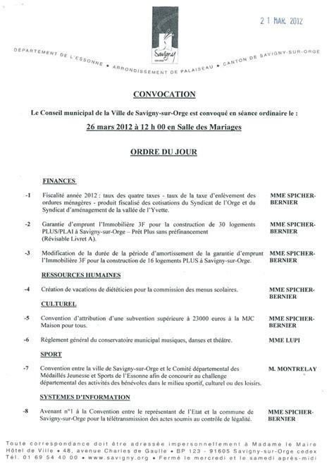 Exemple De Lettre De Procuration Conseil Municipal Exemple Ordre Du Jour Conseil Municipal Document