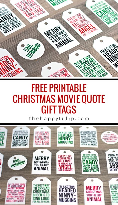 Free Printable Quote Tags | freebie printable christmas movie quote gift tags