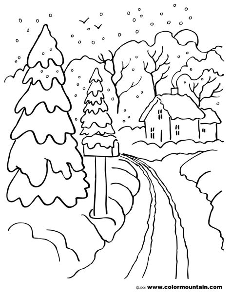 snow landscape coloring page winter scene coloring pages coloring page for kids kids
