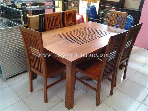 Meja Makan Kayu Jati 6 Kursi meja makan minimalis 6 kursi mebel jepara mebel jati