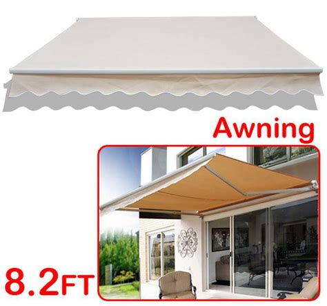outsunny 8 manual retractable patio awning cream