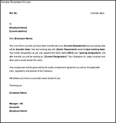 Department Transfer Letter Format Pdf Sle Of Letter Of Intent For A Transfer Template Sle Templates