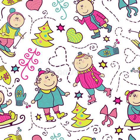 doodle recreational software free vector seamless pattern stock vector image